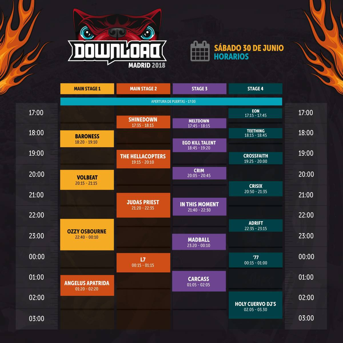 horarios download madrid 2018 sabado