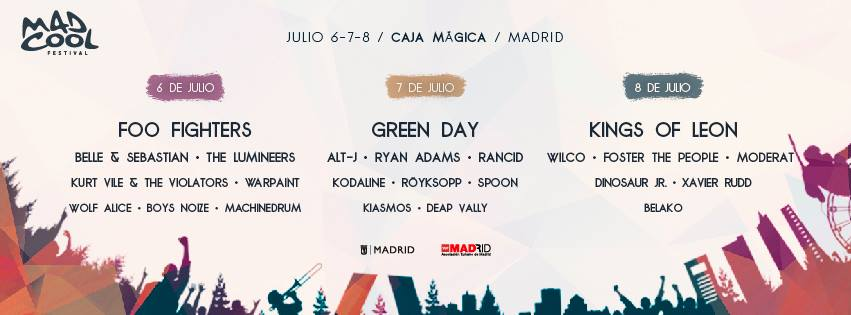 mad cool 2017 cartel por dias